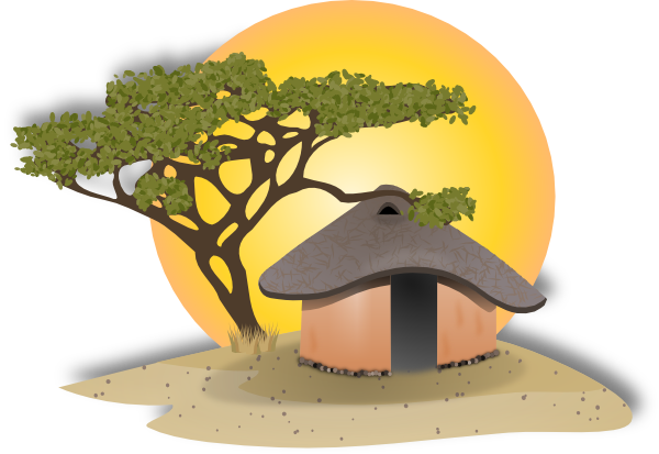 African cottage clip art. Medieval clipart villager banner free library