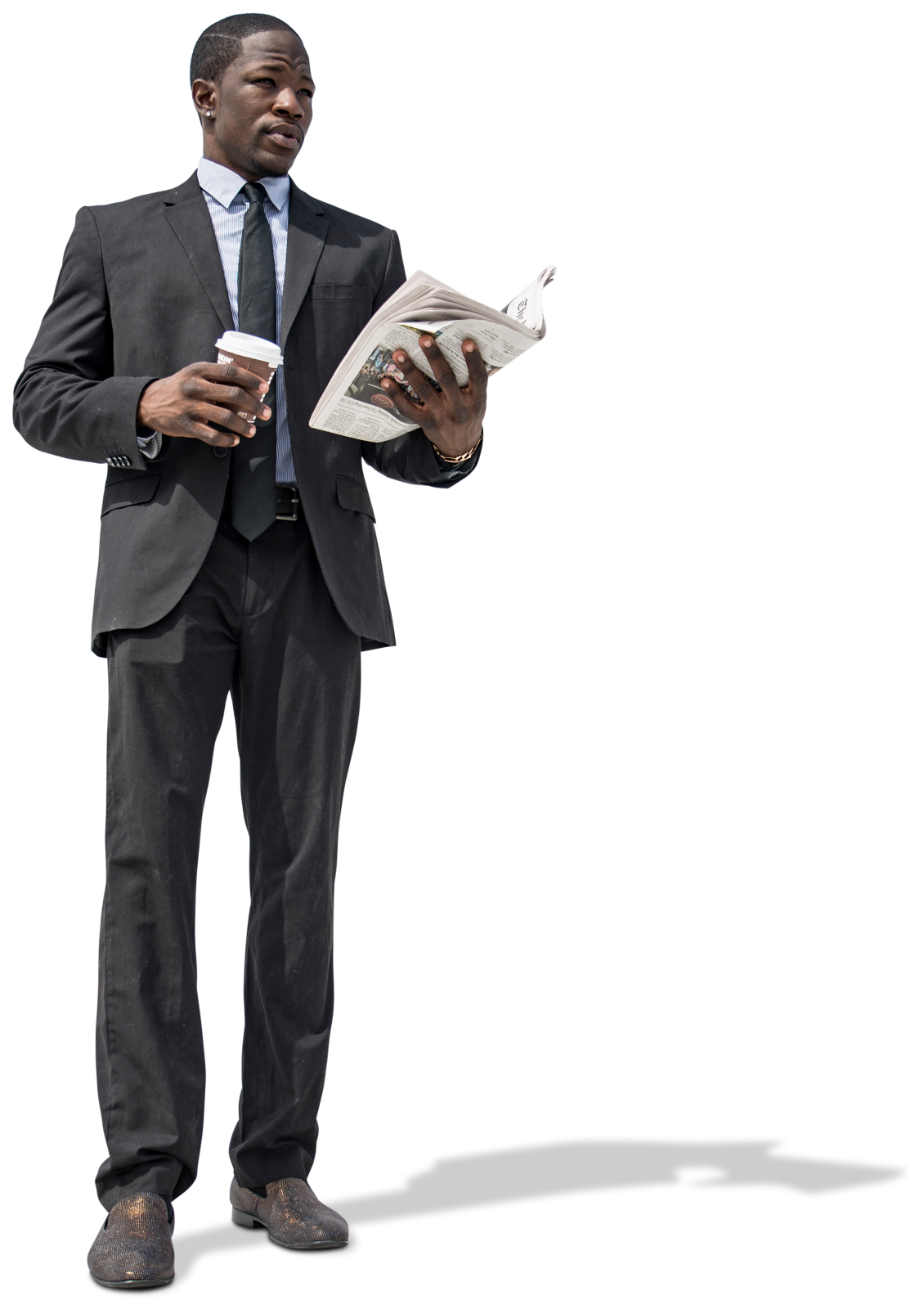 African american businessman png. Office with coffee and