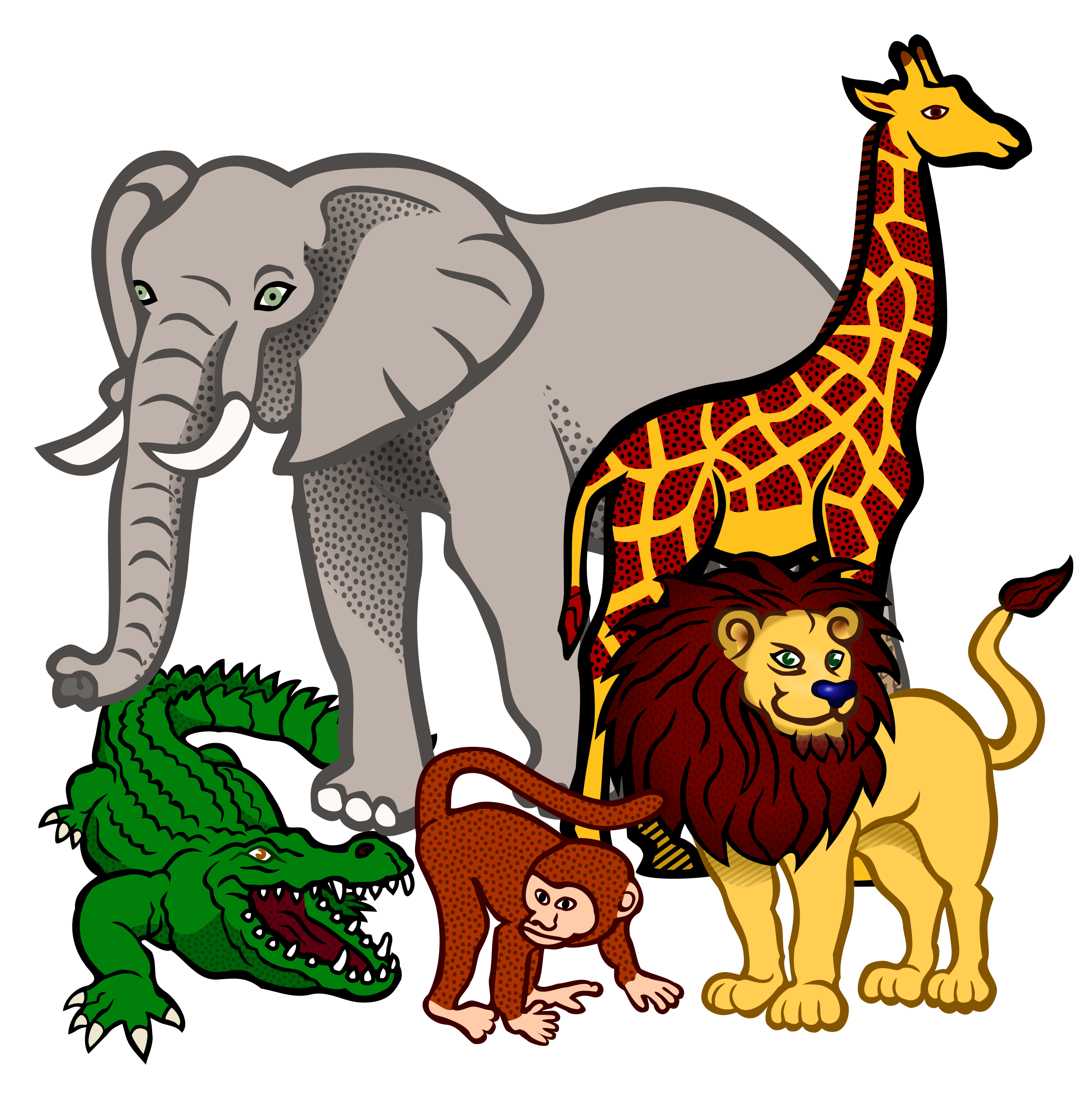 African animals png. Coloured icons free and