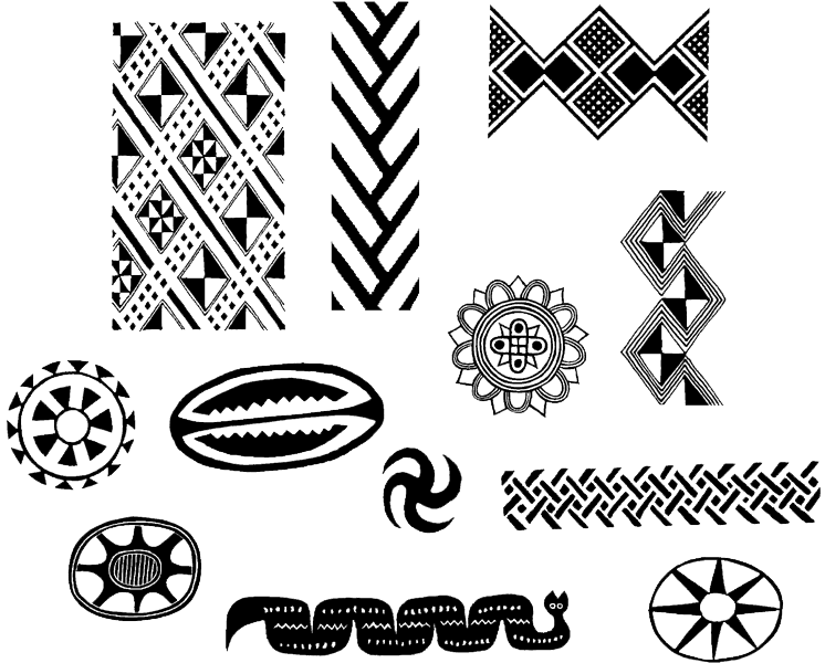 Native american designs group. African border png clip free download
