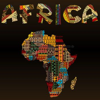 African clipart map africa. With typography made of
