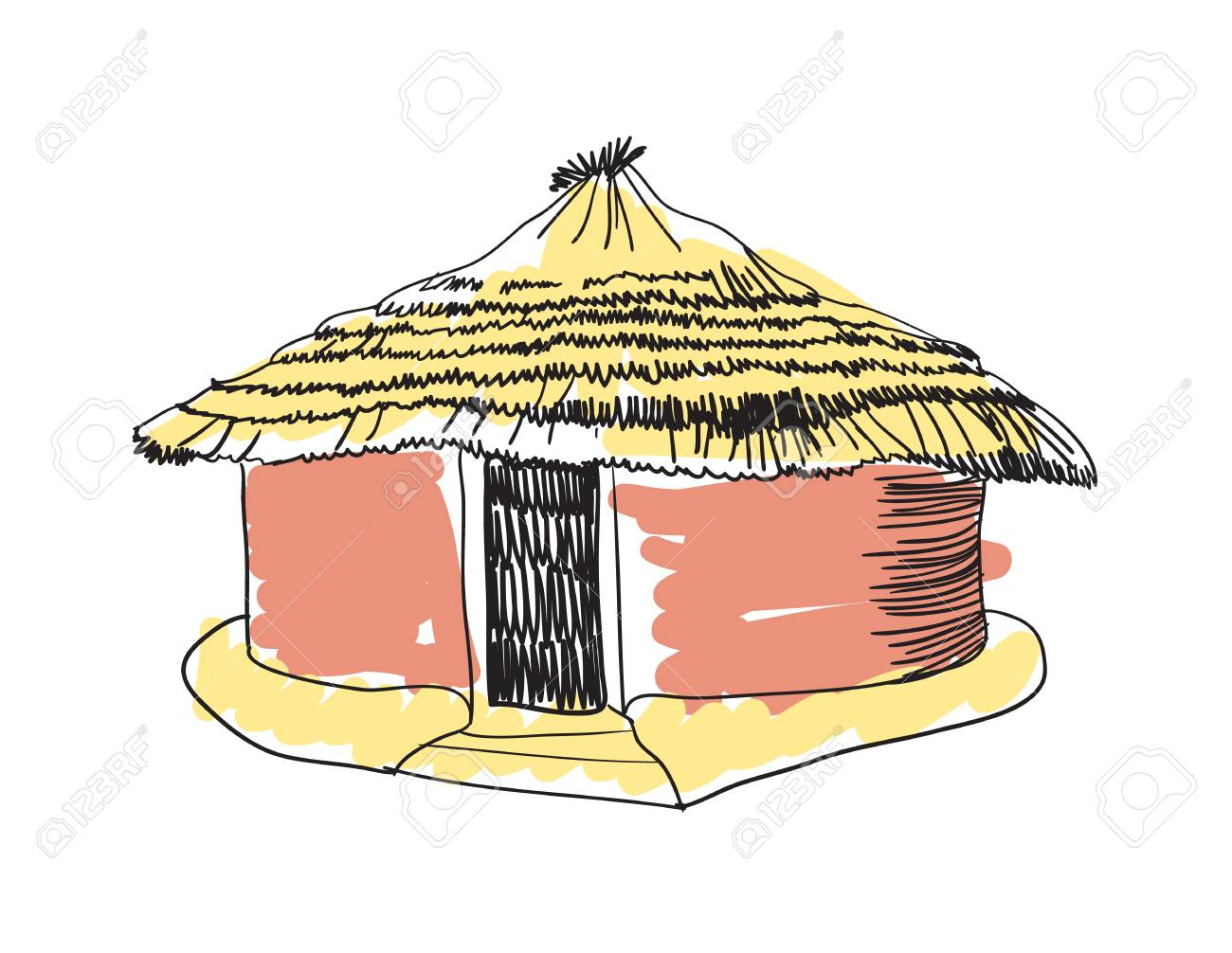 african clipart mud hut