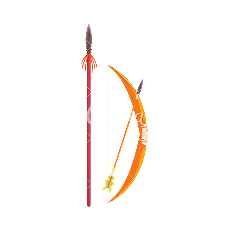 African spear png. Bow and arrow realistic