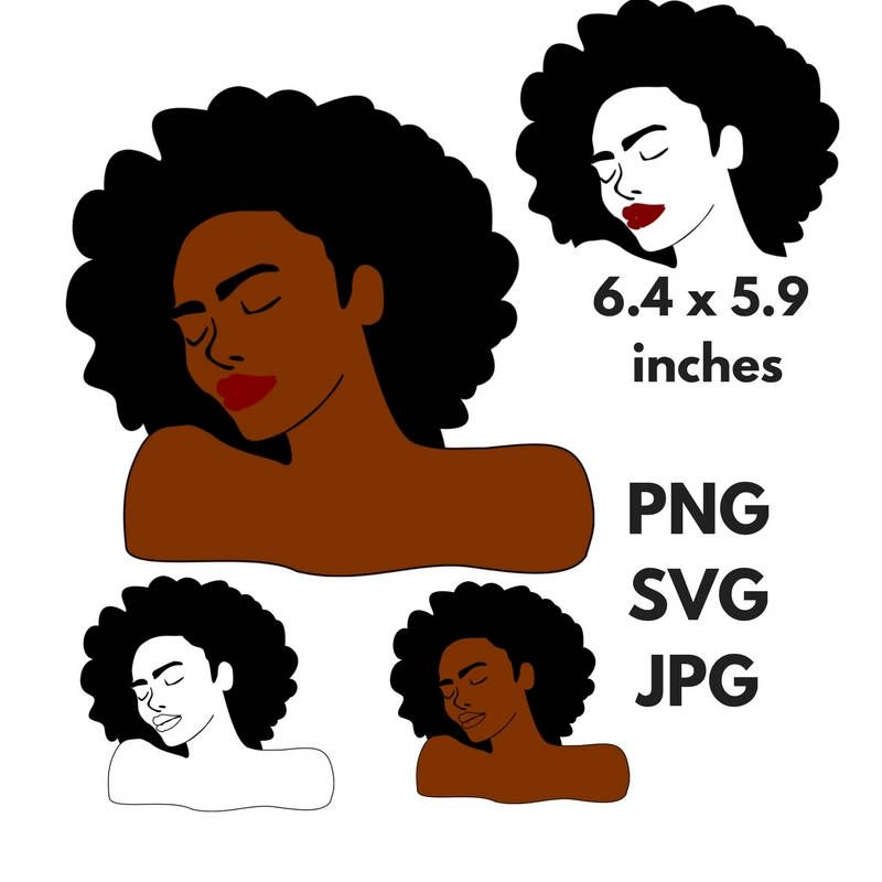Woman silhouette svg clip. Afro clipart black queen jpg library stock