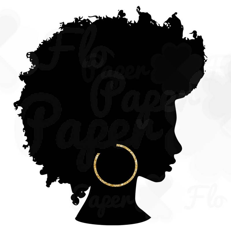 Silhouette png gold hoops. Afro clipart black queen png library library
