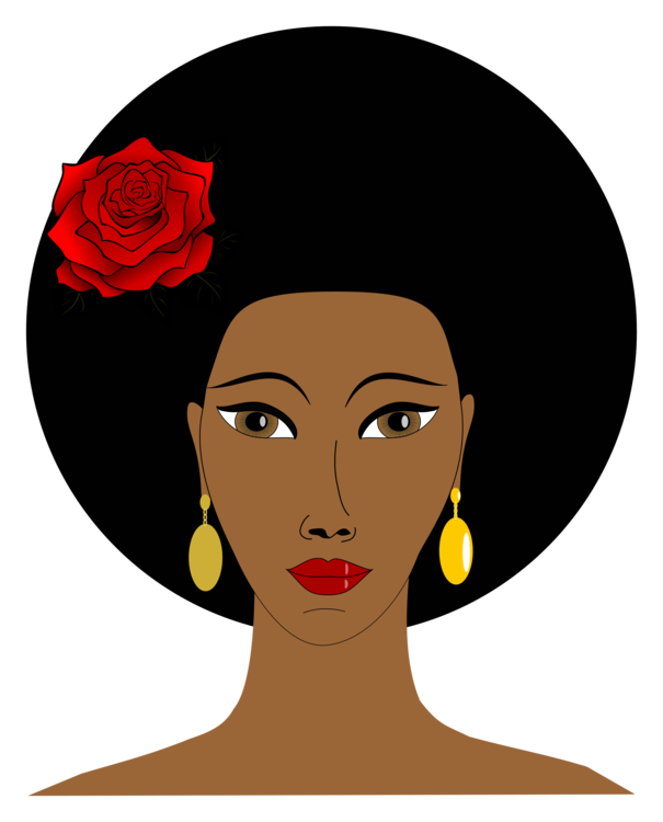 Afro clipart black woman face. African americans negro female