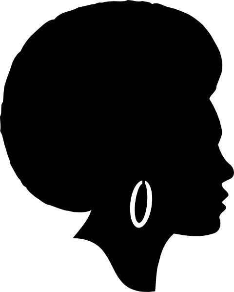 Afro clipart black woman face. Free silhouette clip art