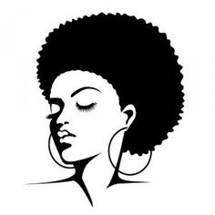 Free silhouette clip art. Afro clipart black woman face banner free library