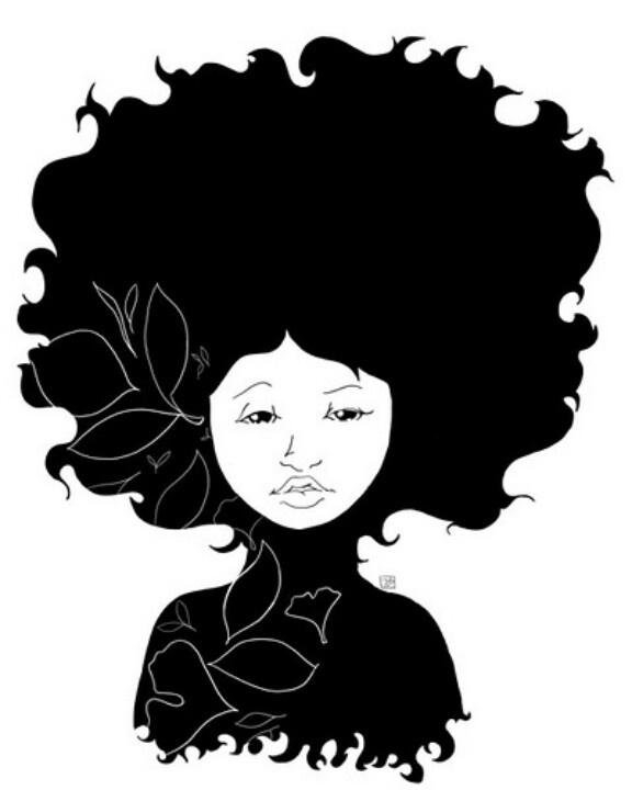 Curly hair silhouette at. Afro clipart crazy wig image free stock