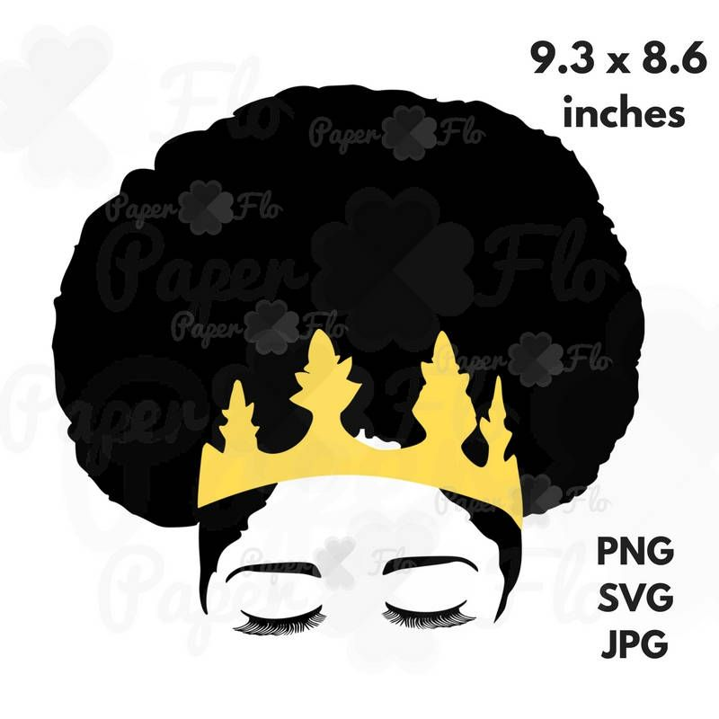 Afro Crown Silhouette SVG Clip Art Black Natural Hair PNG Files ...