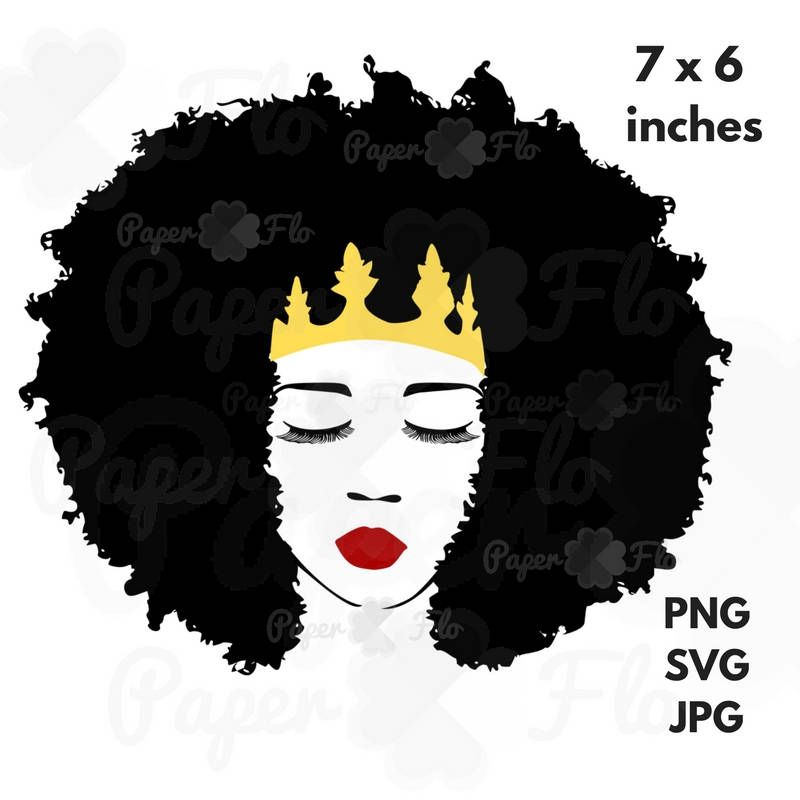 Queen lashes lips face. Afro clipart glass svg banner freeuse