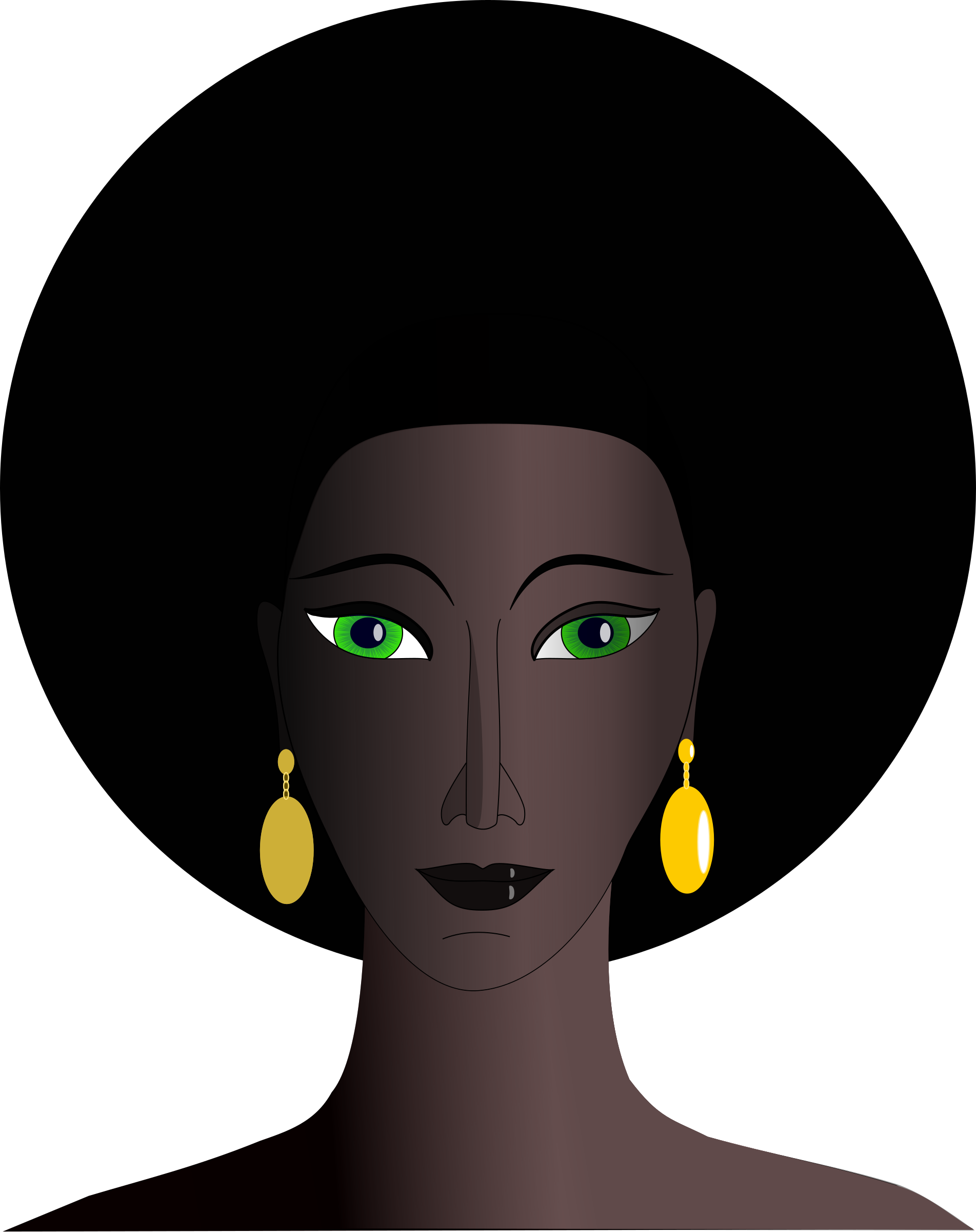 Afro clipart green hair. Black woman with eyes
