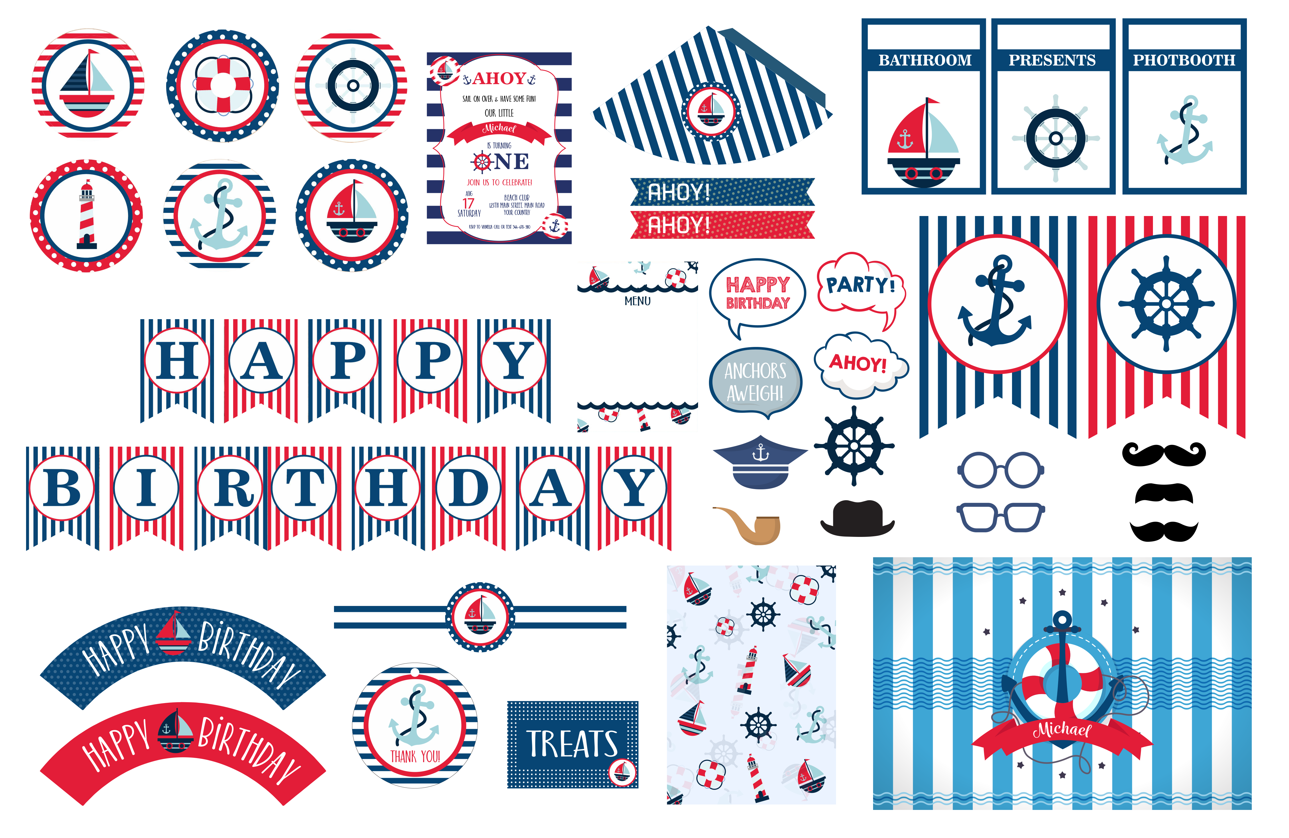 Ahoy its a boy png. Nautical birthday party theme