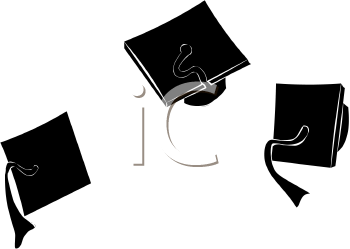 Graduation caps in the. Air clipart banner royalty free stock