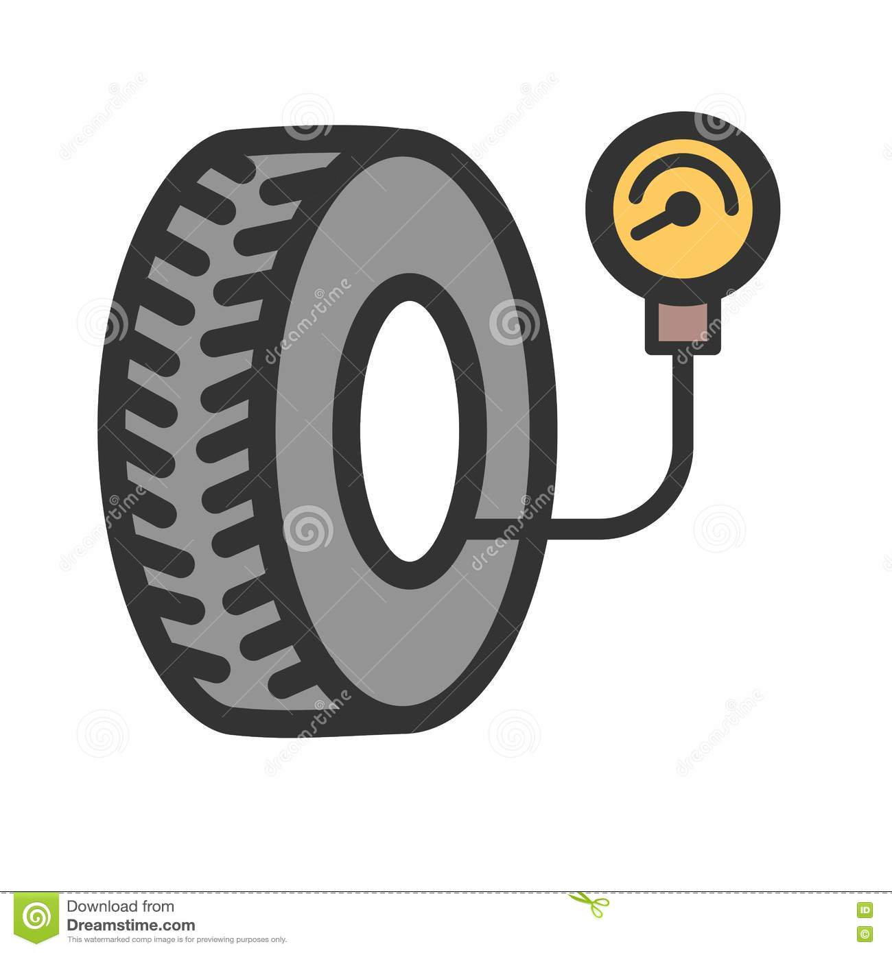 Air clipart air pressure. Tyre checker stock image clipart black and white stock
