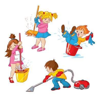 Clean clipart. Playroom kids cleaning up