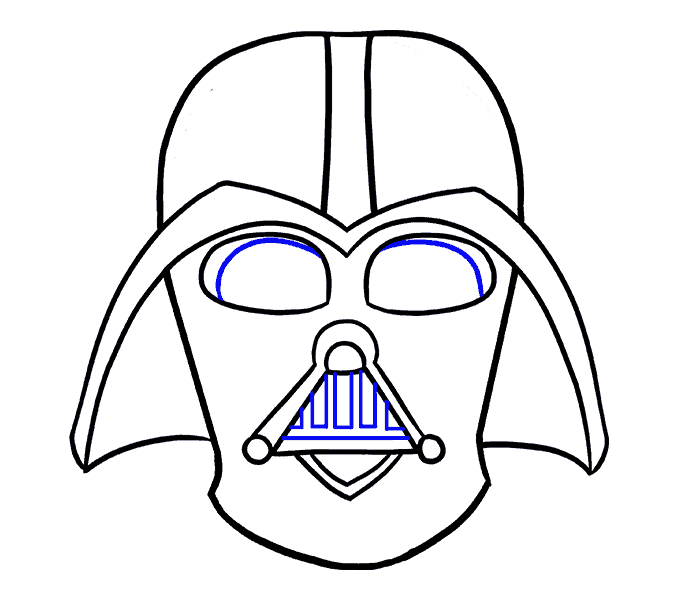 How to draw darth. Vader drawing step by clipart black and white