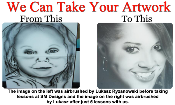 Airbrush drawing portrait. Classes uk