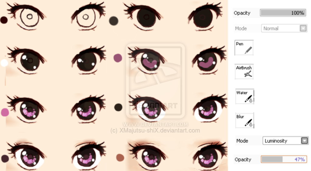 Semi drawing realistic. Eye tutorial by xmajutsu