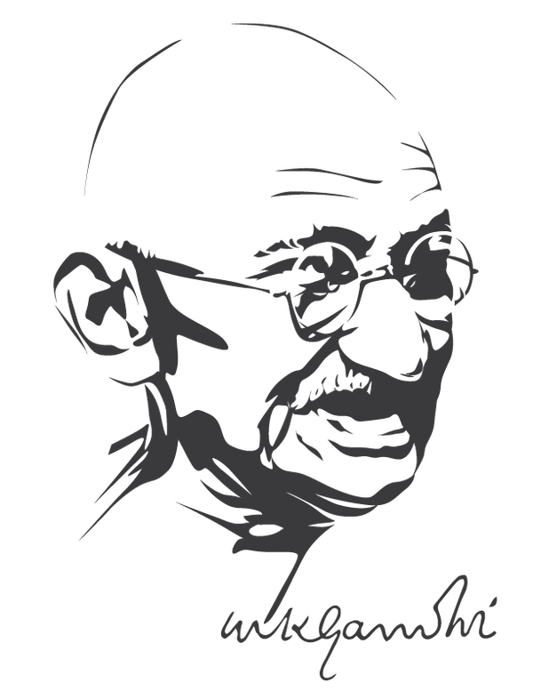 Airbrush drawing superman. Mahatma gandhi by astayoga
