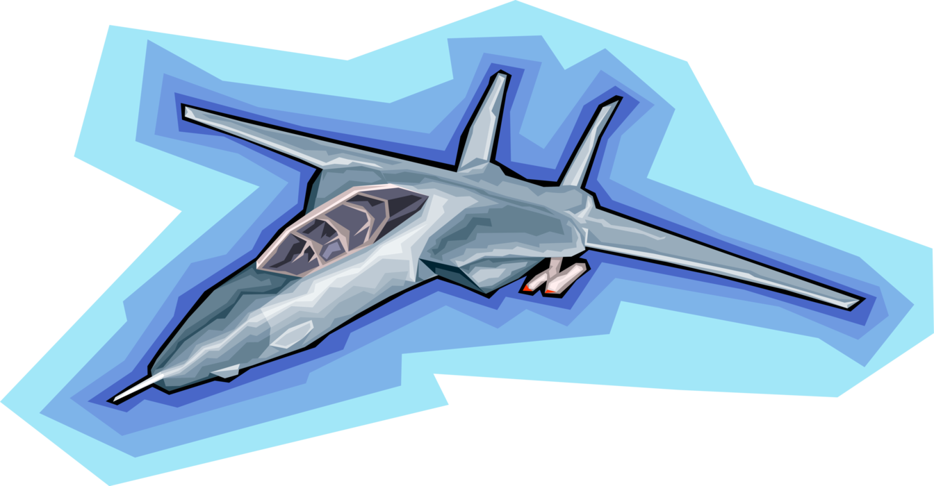 Aircraft vector airplane drawing. Military jet in flight