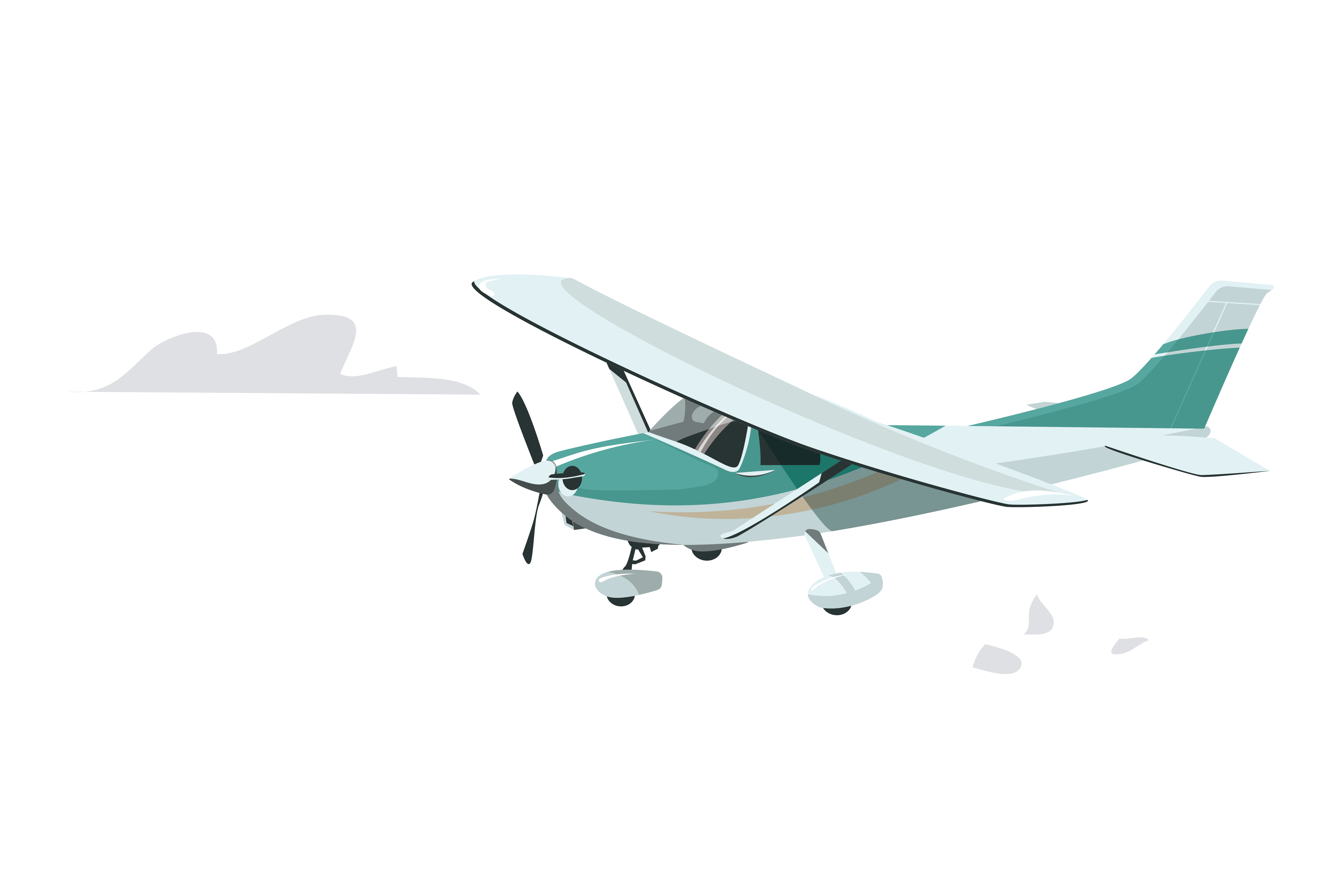 Aircraft vector fly plane. Flap model wing flying
