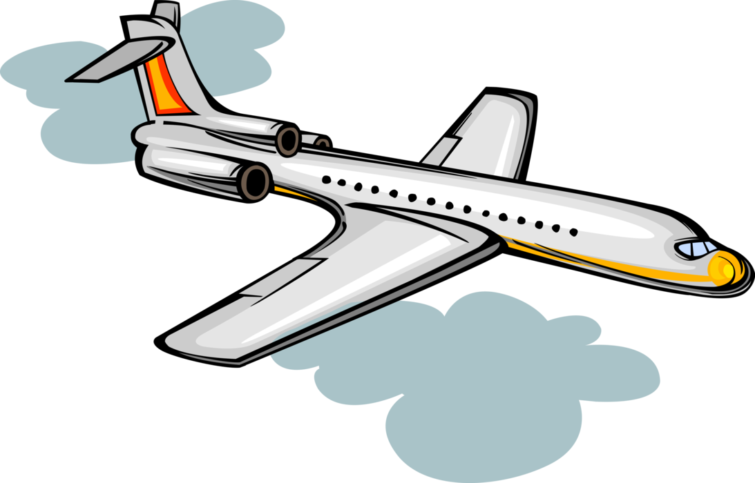 Aircraft vector illustrator. Passenger jet airplane in