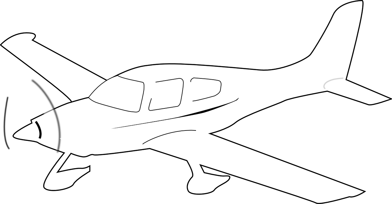 Aircraft vector outline. Propeller driven airplane white