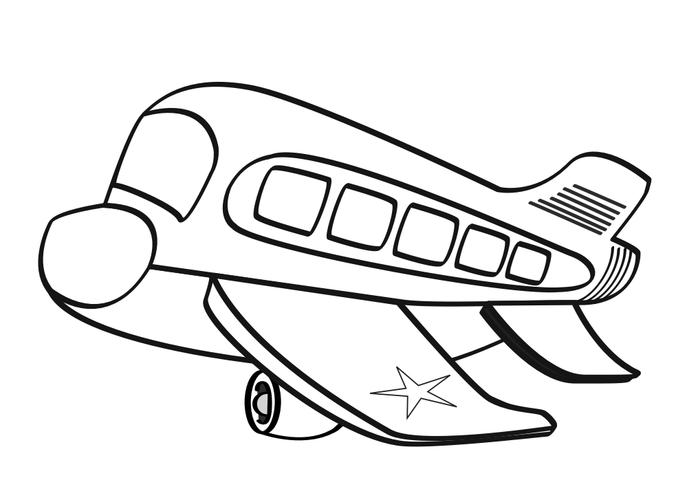 Drawing airplane printable. Free black and white