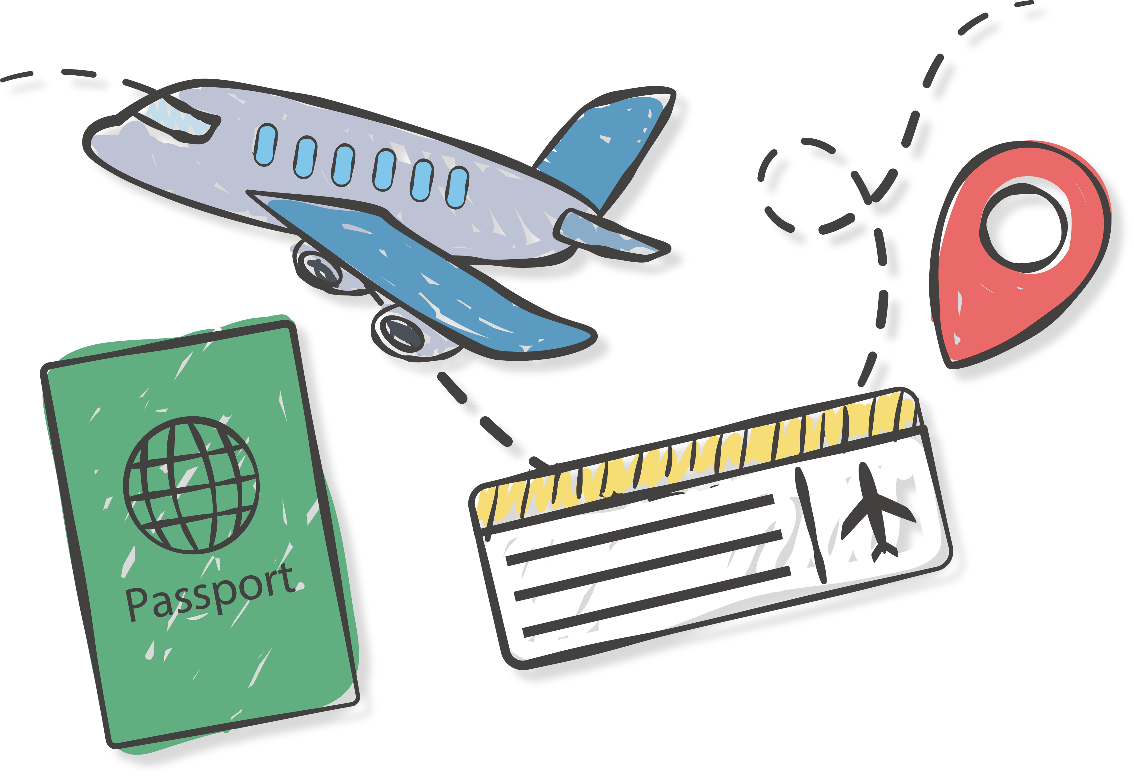 Airplane clip flight ticket. Very first step of
