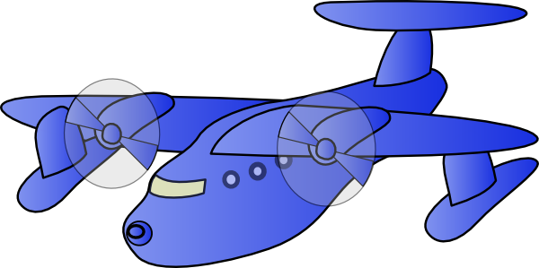 Airplane clip flying. Blue plane art at
