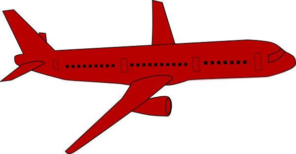 Red plane. Baby airplane clipart