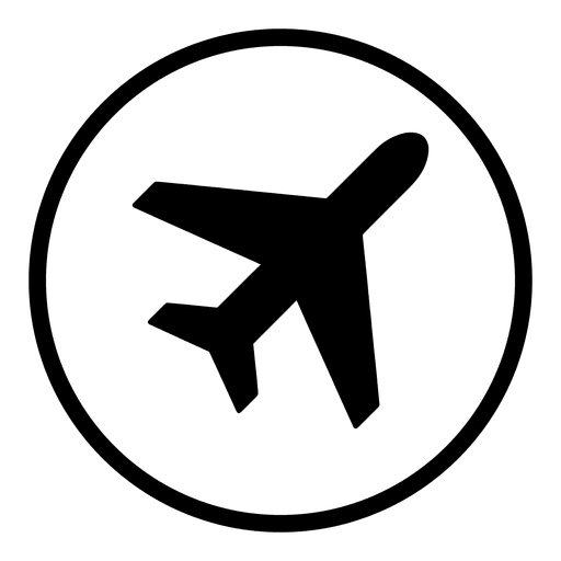 Plane svg icon transparent background. Airport round png vector