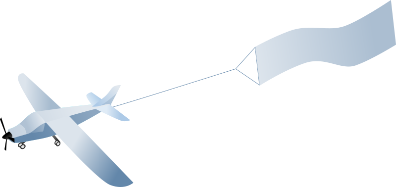 Airplane with banner png. Clipart medium image