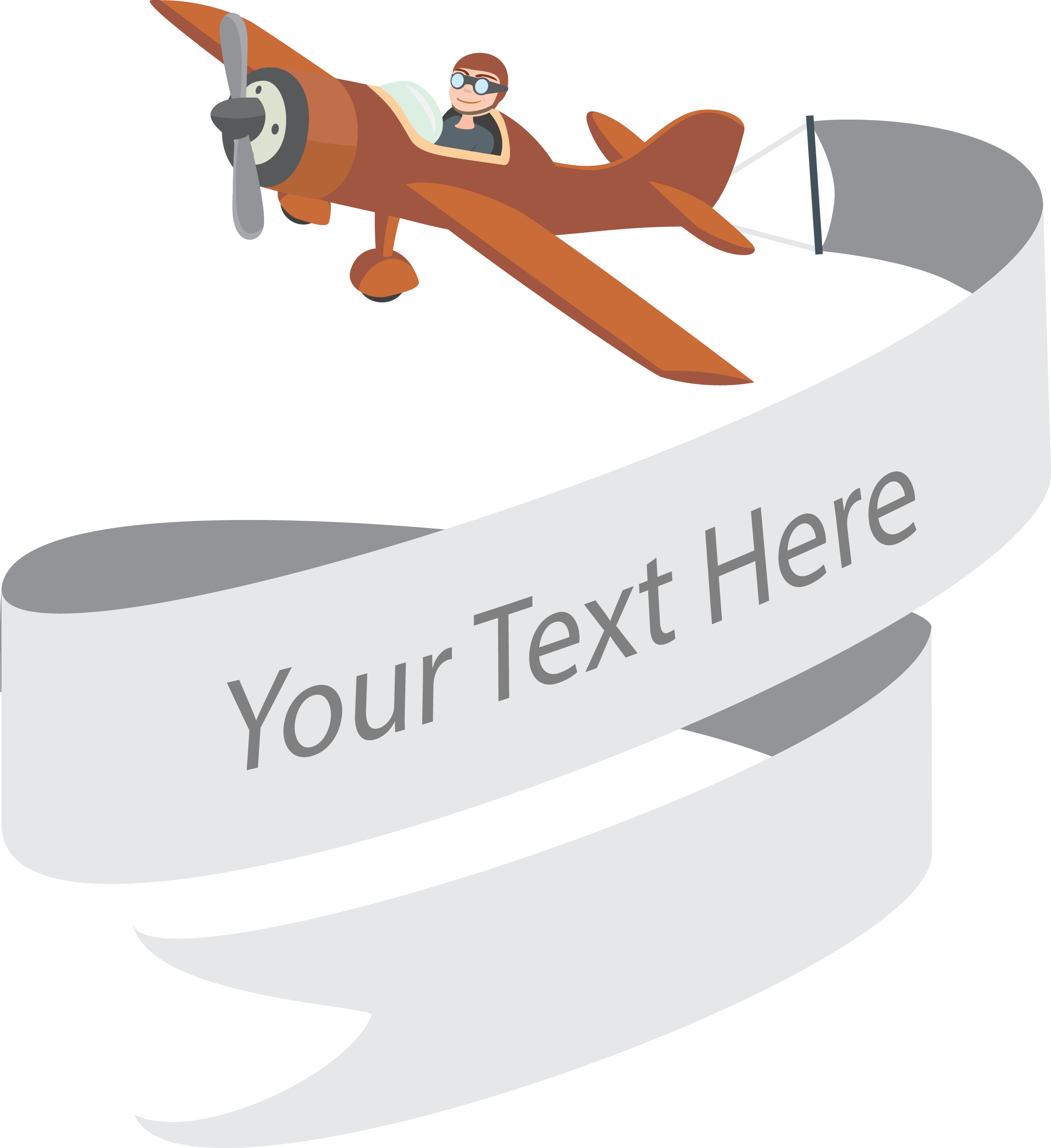 Airplane with banner png. Web company cartoon pilot