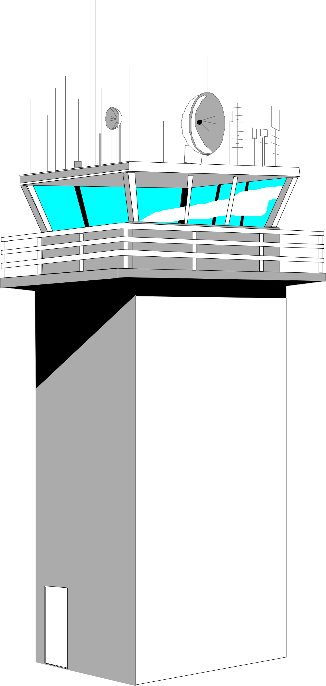 Airport vector control tower. Clipart big image png