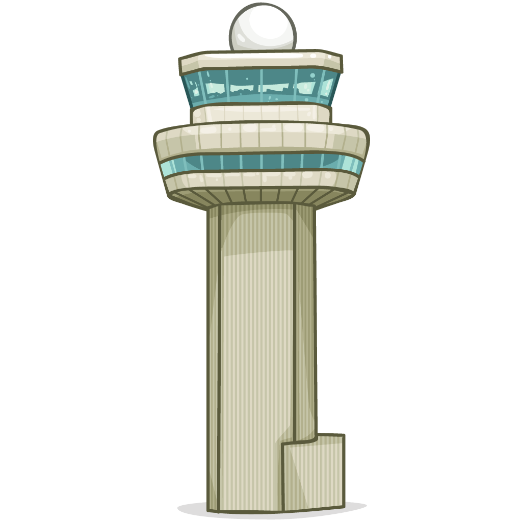 Airport vector control tower. Air traffic icon image