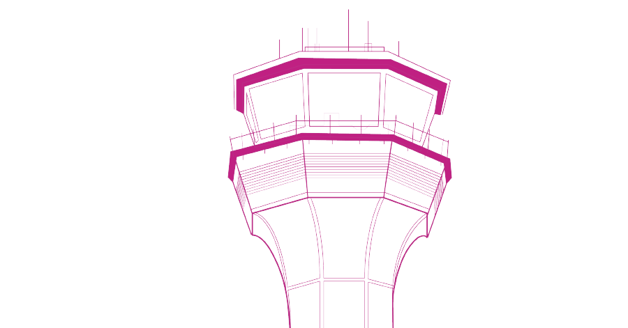 Airport vector control tower. Without bounds the rise
