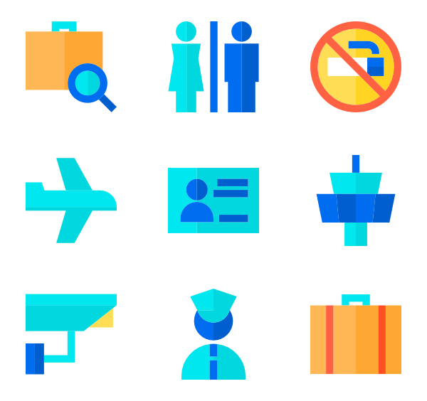 Airport vector flat. Security icons free set