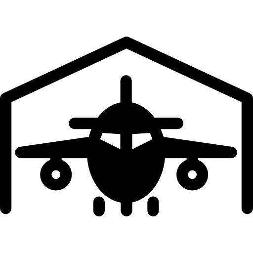 Airport vector hangar. Free transport icons icon