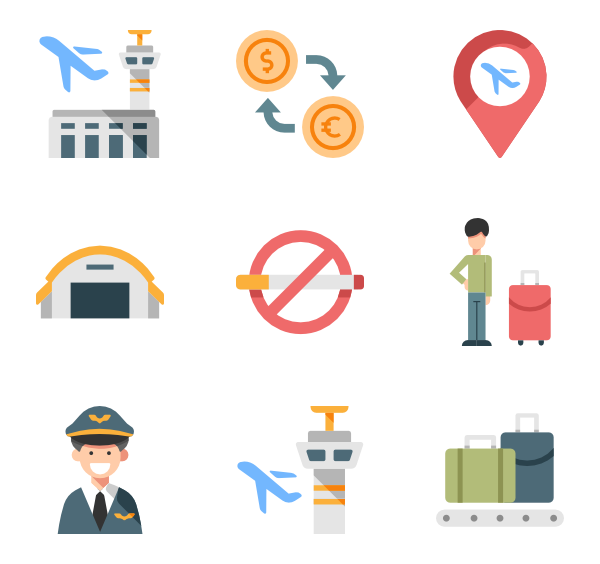 Airport vector infographic. Airplane icons free