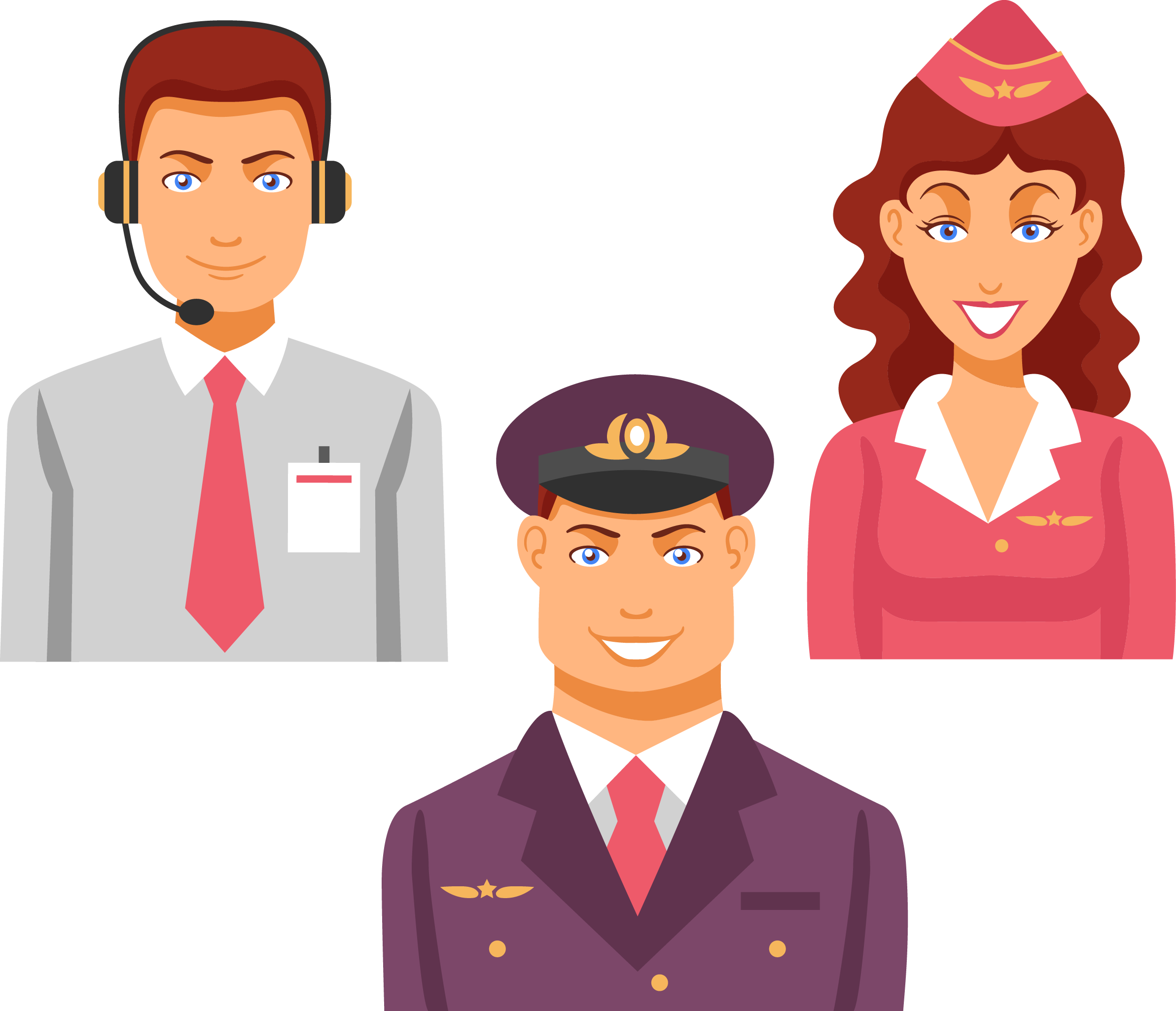 Airport vector people. Airplane cartoon flight attendants