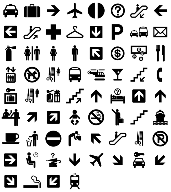 Airport vector pictograms. Dot free icons icon