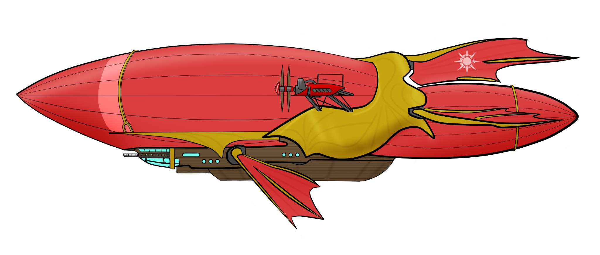 The wizard and lonely. Airship drawing anime banner freeuse download