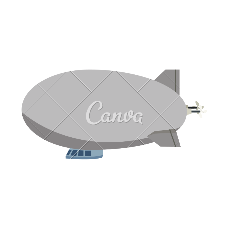 Airship drawing blimp. Zeppelin modern design icons