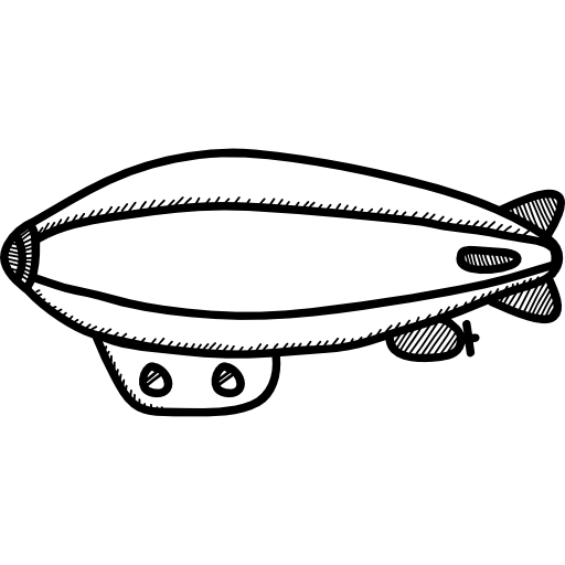 Zeppelin drawing flying. Dirigible travelling airship transport