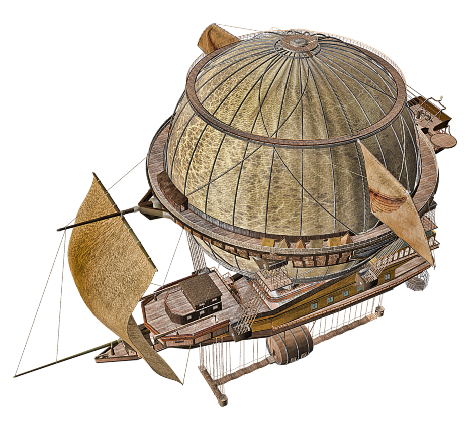 Airship drawing steam. Png stock by roy