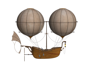 Airship drawing steampunk. Pillows freshly steamed there