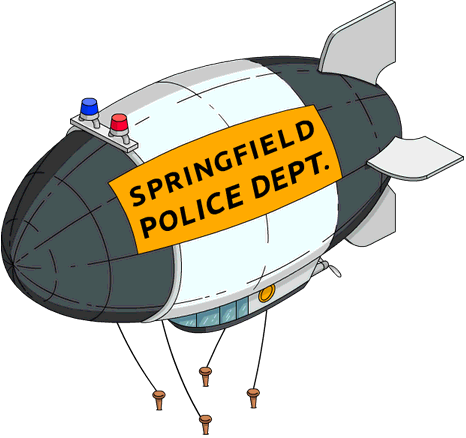 Airship drawing fire. Springfield police blimp wikisimpsons