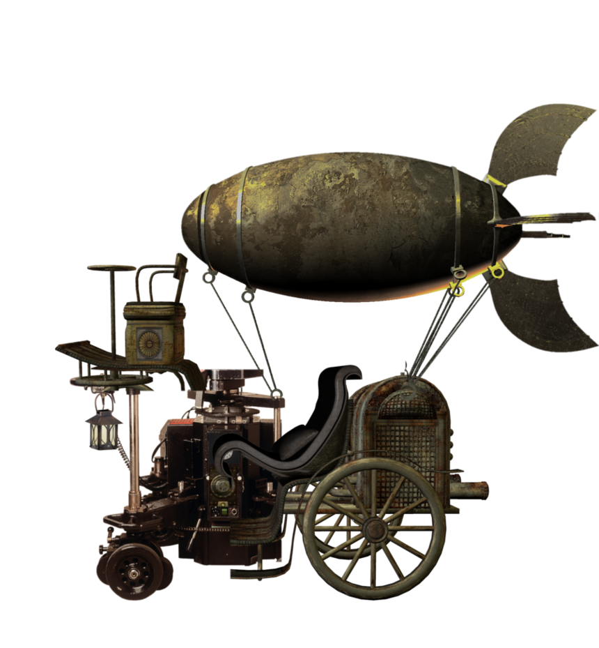 Airship drawing victorian. Flying machine png by